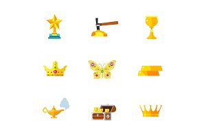Gems and gold icon set