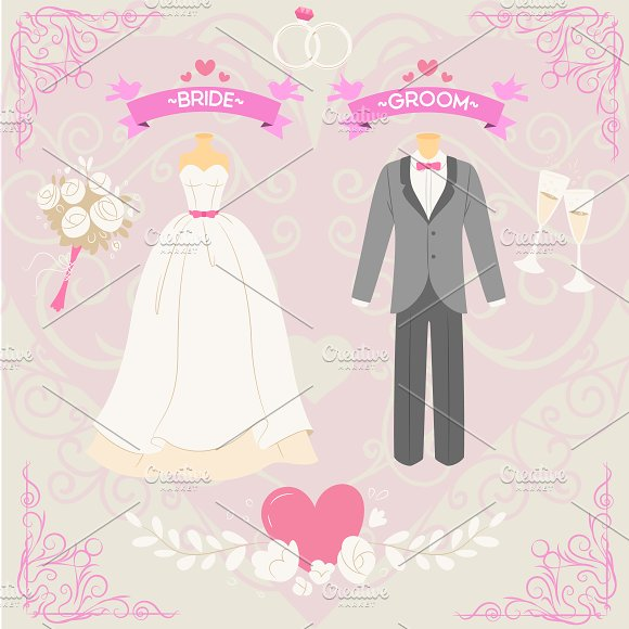 Wedding Bride And Groom Elements