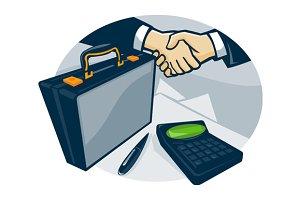 Business Handshake Deal Briefcase Re