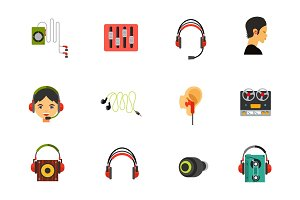 Headphones icon set