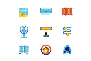 Heating cooling systems icon set