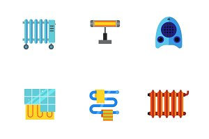 Heating system icon set