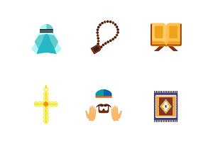 Islamic symbols icon set