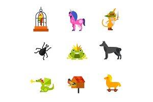 Magical animals icon set