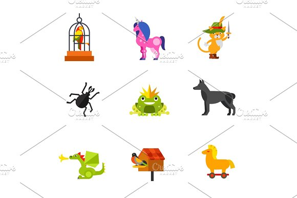 Magical Animals Icon Set