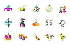 Mardi Gras icon set