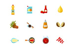 Sauces icon set