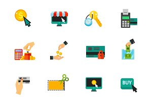 Shopping and sales icon set
