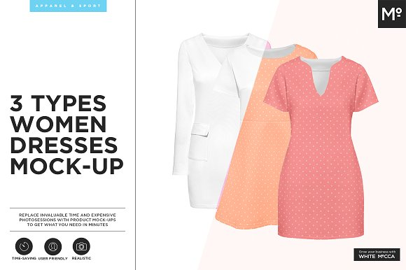 Free 3 Types Women Dresses Mock-up
