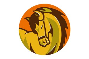 horse stallion head retro