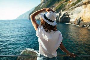 woman relaxing in scenic landscape