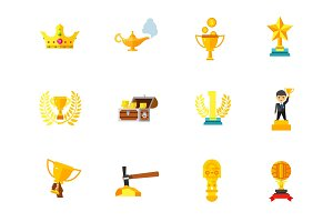 Things made of gold icon set