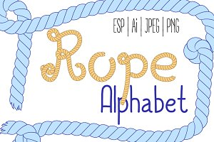 Nautical Rope Alphabet Vector Letter