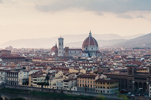 Scenic view of Florence in sunset