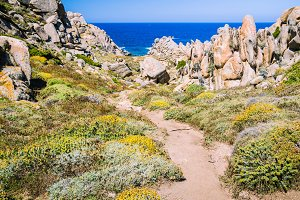 Walky path between bizarre granite rock formations in Capo Testa, Sardinia, Italy