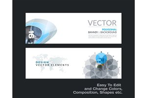 Vector set of modern horizontal website banners