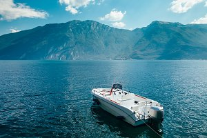 Motor boat on beautiful Garda lake