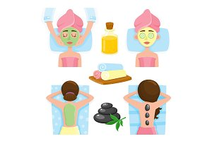 Spa salon precedures and accessories, mask, massage, towels, stones, oil