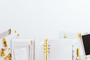 Planner White Desk Gold Stationery