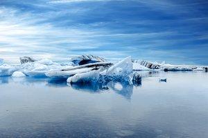 Scenic view of icebergs, Iceland