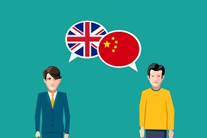 Britain and China speech bubbles