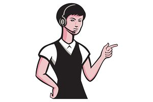 young female headset pointing