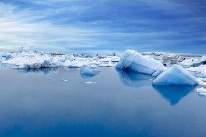 Blue Icebergs in Glacier Lagoon