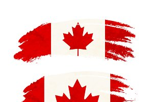 Brush stroke with Canada flag