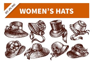 Hand Drawn Vintage Women's Hats Set