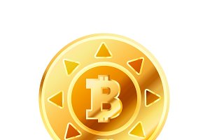 Golden coin with bitcoin sign