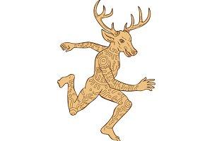 Half Man Half Deer With Tattoos Runn