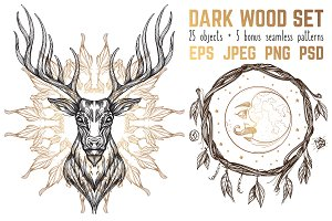 Dark wood set