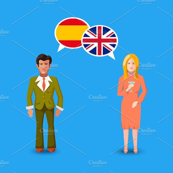 Britain And Spain Speech Bubbles