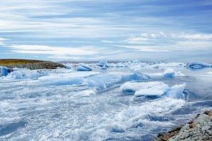 Icebergs in Glacier Lagoon, Iceland.