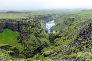 Waterfalls above Skogafoss, Iceland