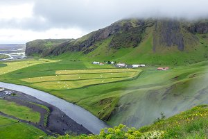 Islandic landscape. Skoga River