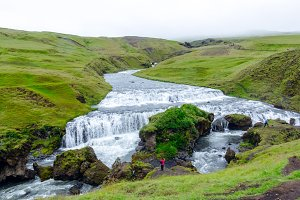 Waterfalls above Skogafoss, Iceland