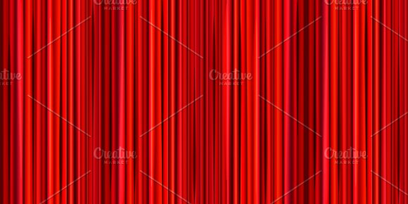 Bright Red Curtain Wide Background