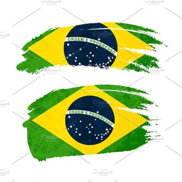 Brush Stroke With Brazil Flag