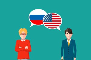 Russia and USA speech bubbles