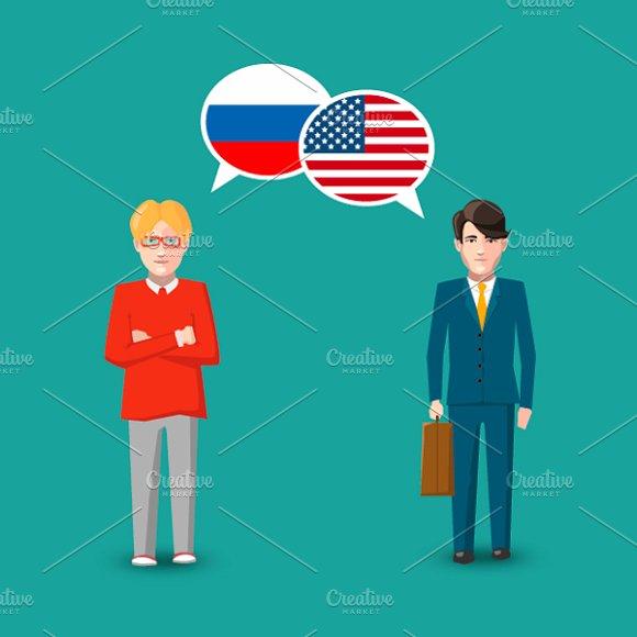 Russia And USA Speech Bubbles