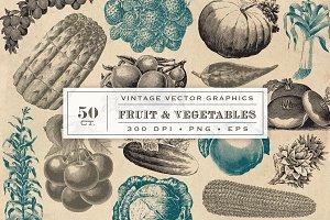 Vintage Fruit & Vegetable Graphics