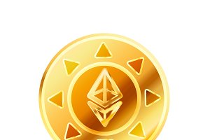 Golden coin with ethereum sign