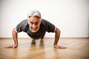 Man In His 50s Doing Pushups