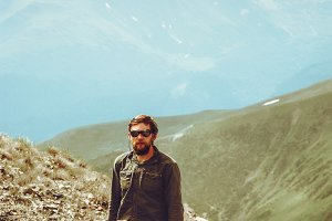 Traveler bearded Man hiking outdoor
