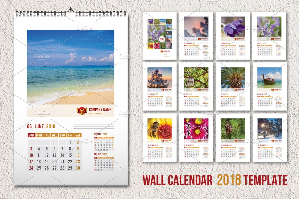 Calendar Templates Creative : Wall calendar template a stationery templates