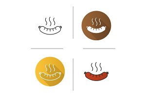 Steaming sausage icon