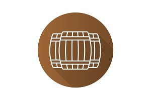 Alcohol wooden barrels flat linear long shadow icon