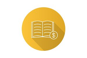 Buy book flat linear long shadow icon
