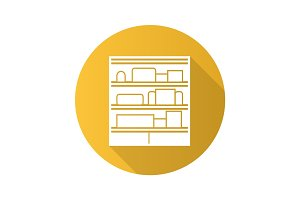 Shop shelves flat design long shadow glyph icon